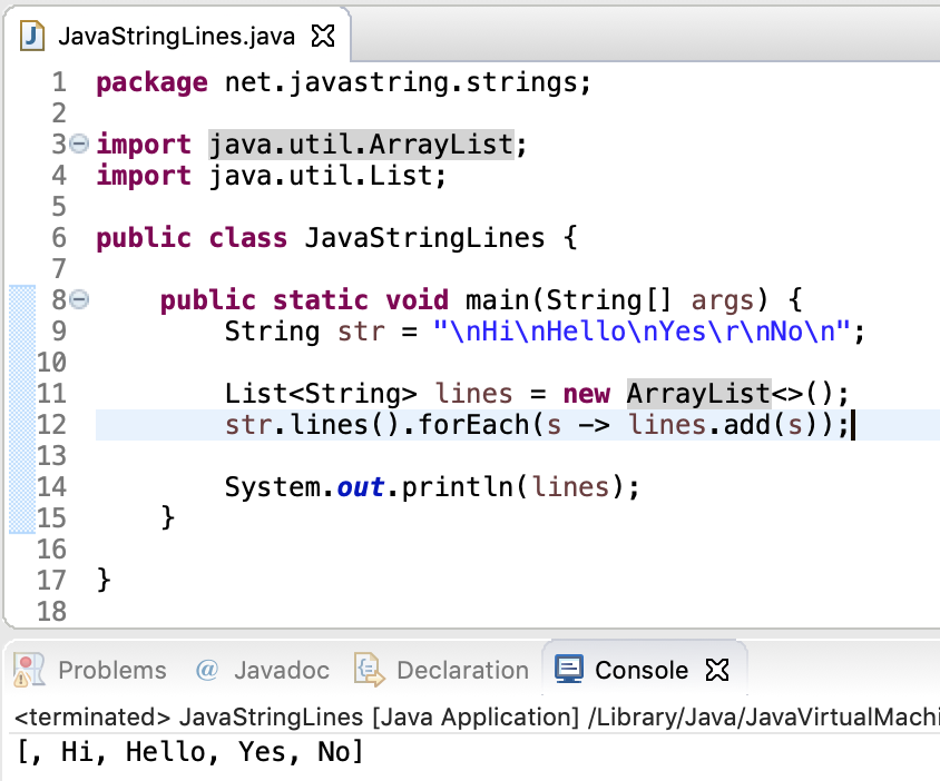 Java String Lines Example