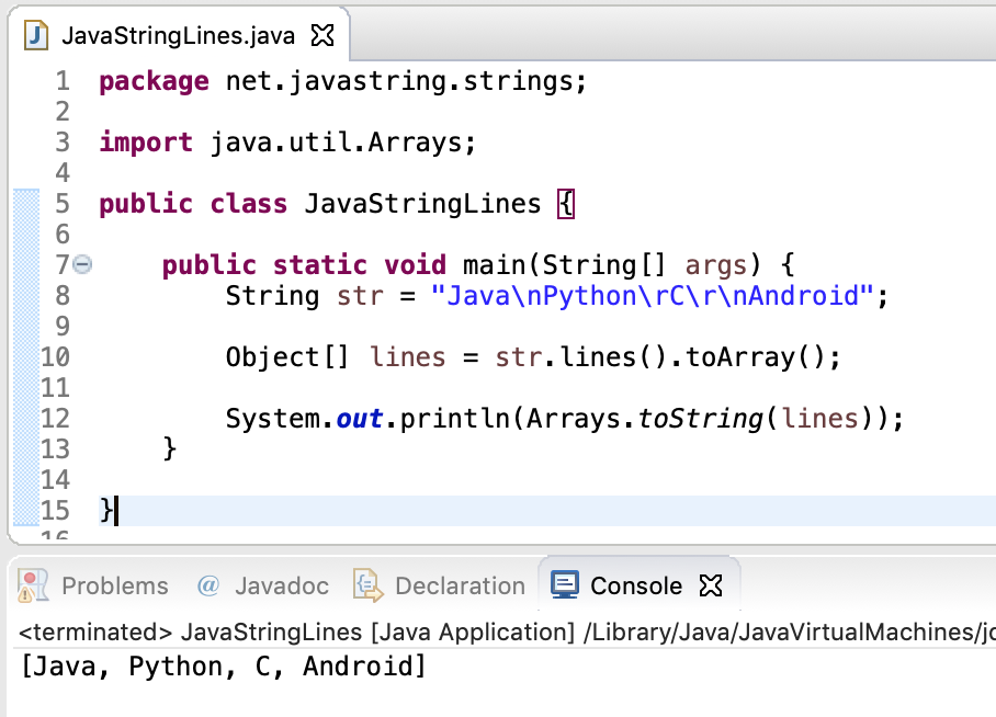 Java String Lines To Array