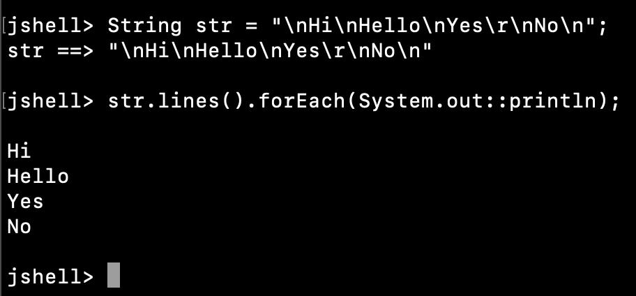 Java String Print Lines