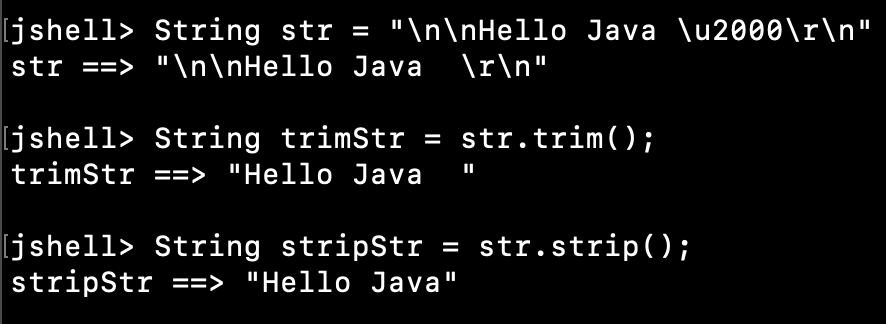 Java String trim vs strip