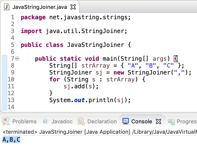 Java StringJoiner Example