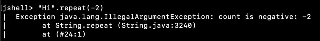 Java String Repeat IllegalArgumentException