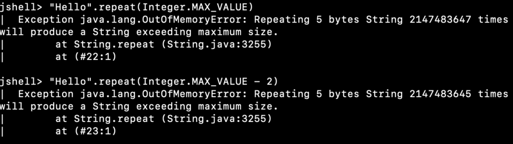 Java String Repeat OutOfMemoryError