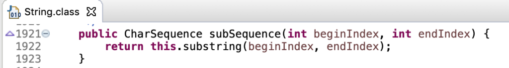 Java String SubSequence Method