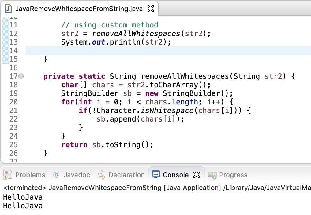 Remove Whitespace From String In Java