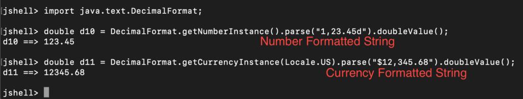 Java DecimalFormat Parse