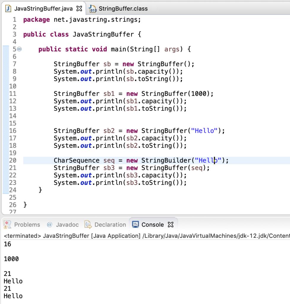 Java StringBuffer Constructors