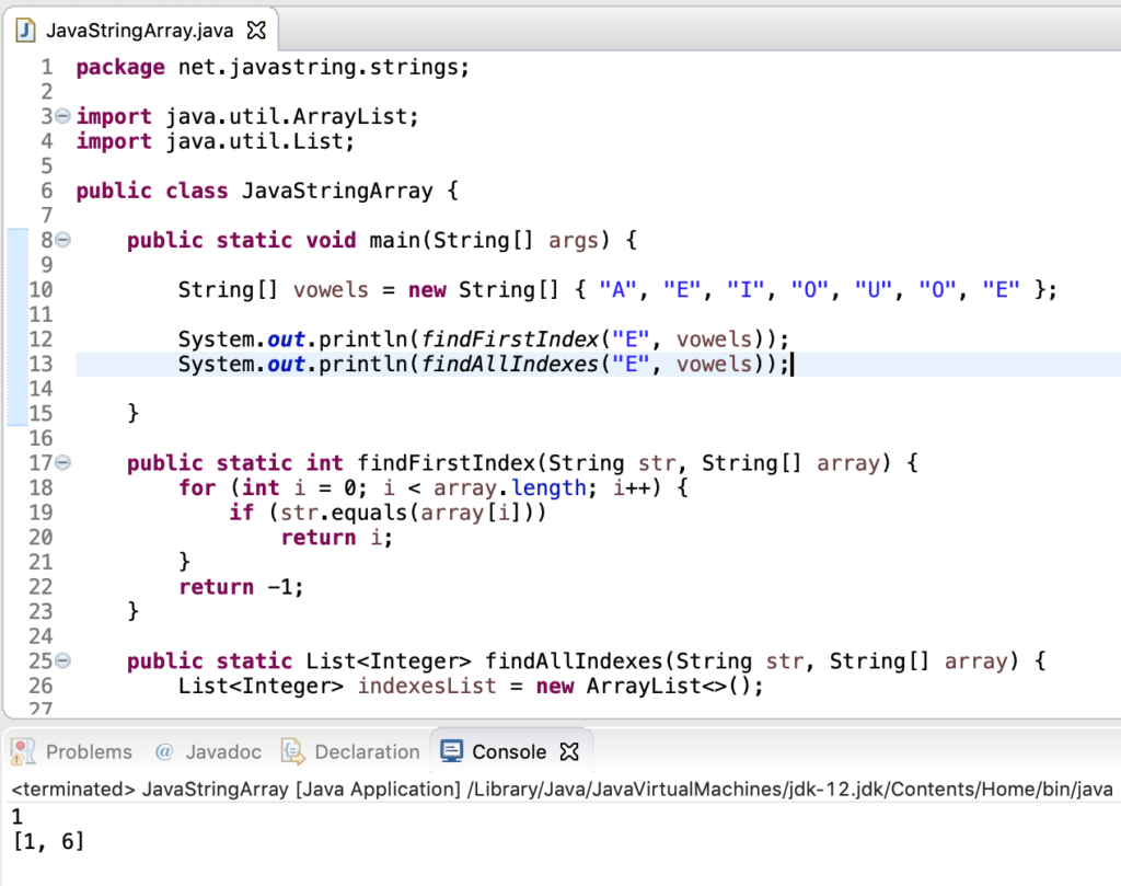 Java String Array Search