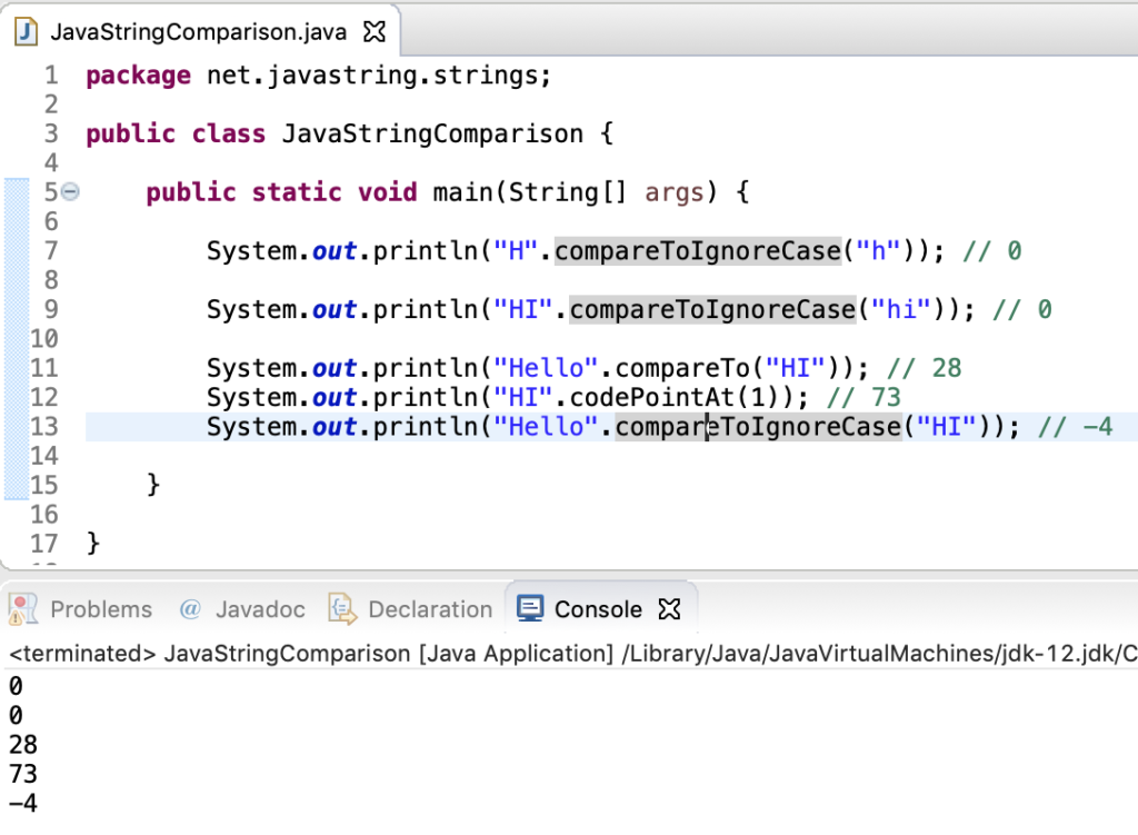 Java String CompareToIgnoreCase