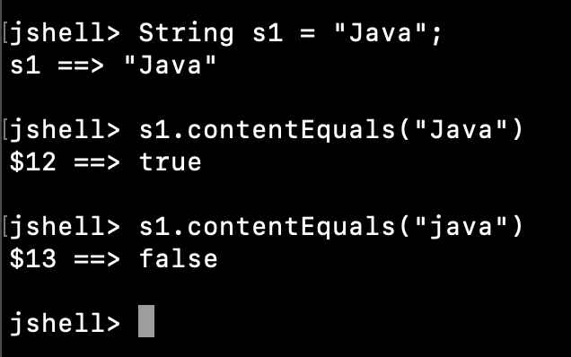 Java String ContentEquals Example
