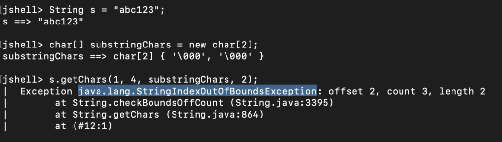 Java String Convert To Char Array StringIndexOutOfBoundsException