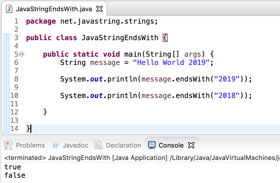 Java String EndsWith Method