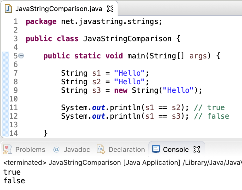 Java String Equality Operator