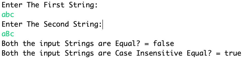 Java String Equals EqualsIgnoreCase Examples