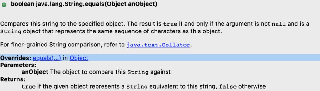 Java String Equals Method