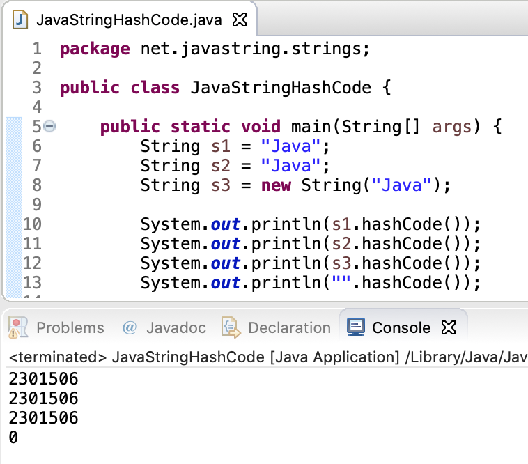 Java String HashCode Example
