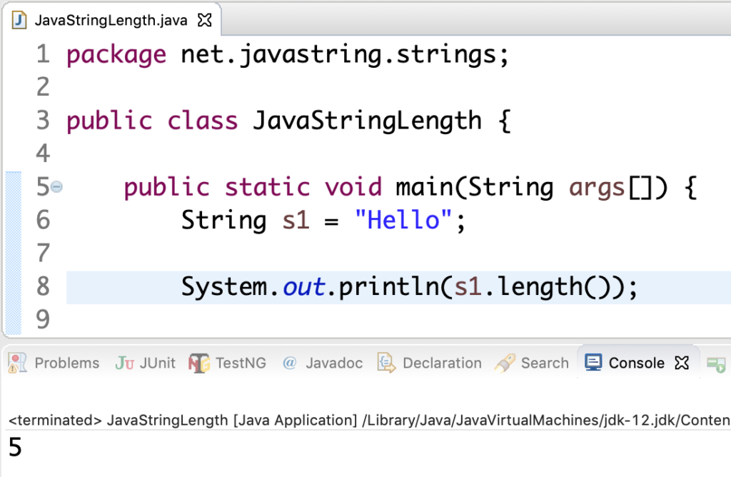 Java String length() Method Example