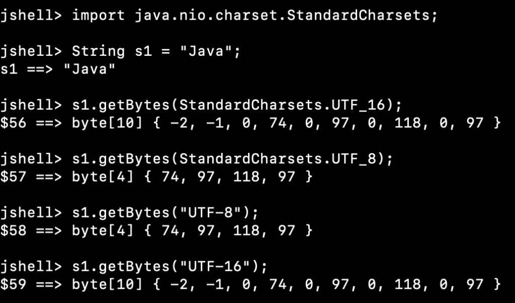 Java String To Byte Array Charset