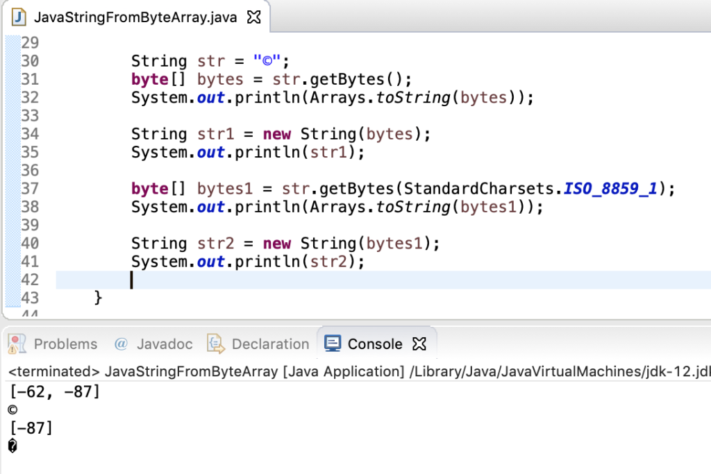 Java String To Byte Array Special Characters
