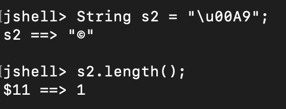 Java String Unicode Length Example