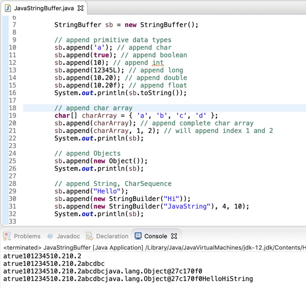 Java Stringbuffer Append