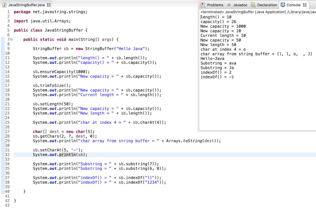 Java StringBuffer Methods